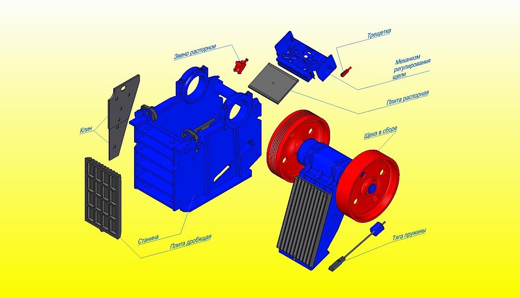 Щековая дробилка главно предназначена для дробильной работы средней зернистости различных руд и массивных материалов